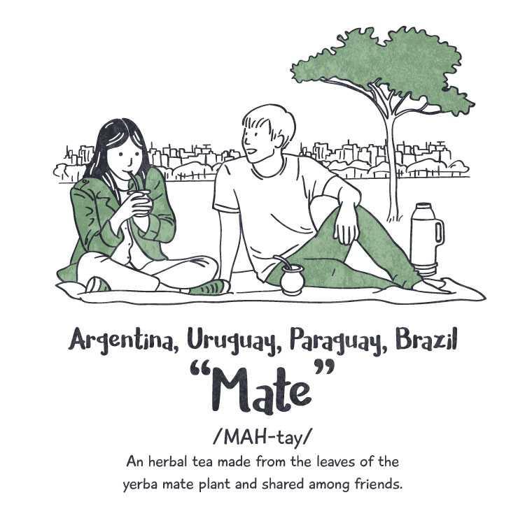 Argentina, Uruguay, Paraguay, Brazil: 'mate'
